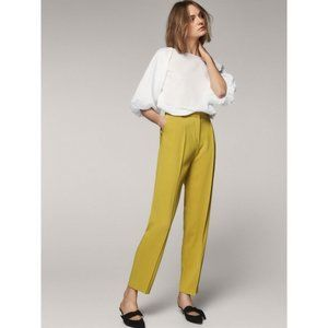 Massimo Dutti Yellow/Green Slim Trouser Pants NWT